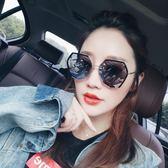2018新款不規則多邊形太陽鏡防曬墨鏡女正韓潮人防紫外線眼鏡 【好康八九折】