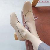Pr 粗跟單鞋女淺口小皮鞋中跟方頭復古女鞋