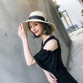 帽子女夏遮陽帽防曬可折疊海邊度假旅游大檐草帽英倫沙灘帽太陽帽【無趣工社】