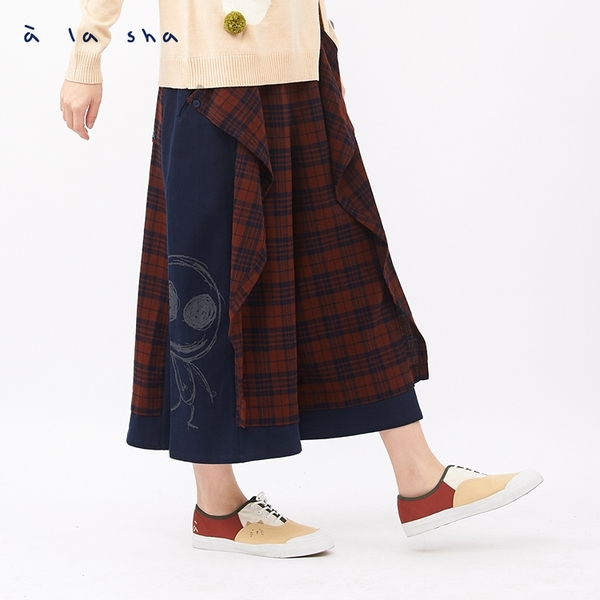 阿財Q咪格紋拼接打摺褲裙