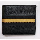 【雪曼國際精品】Gucci 黑黃黑織帶牛皮六卡對折短夾─全新現貨
