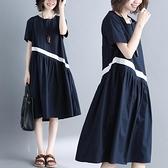 中大尺碼洋裝 胖妹妹夏裝2020新款遮肚大碼連身裙女洋氣減齡條紋中長款顯瘦裙子