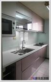 ❤PK 廚浴 館 店面❤高雄廚房歐化系統櫥具一字型240 公分上下櫃流理台白鐵桶身水晶門板