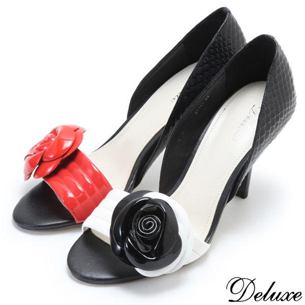 【Deluxe】全真皮名媛時尚玫瑰仿魚口高跟包鞋(白☆紅)