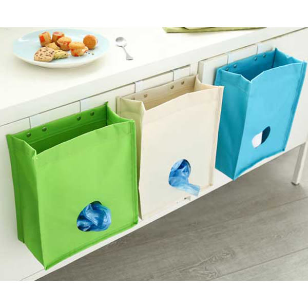 帆布料門背掛勾塑膠袋整理收納袋(1入)不挑色【小三美日】廚房好幫手