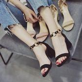仙女的鞋復古夏高跟鞋中粗跟涼鞋女學生夏百搭韓版鞋子女2018新款【店慶滿月好康八折】