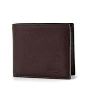 美國正品 COACH 男款 素面全皮革壓印LOGO短夾-咖啡色/附證件夾【現貨】