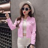 (批發價不退換)韓系BF原宿風牛仔外套女韓版彩色上衣H8268#ZM-3FC046日韓屋