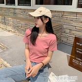 純棉短袖t恤女2021新款夏季v領純色高腰短款韓風chic上衣服ins潮 居家家生活館