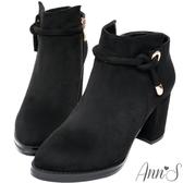 Ann'S貴族氣息-繫繩金屬帶高跟粗跟短靴-黑