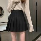 百褶裙 白色百褶裙女高腰a字顯瘦黑色半身裙秋季新款時尚短裙子-Ballet朵朵