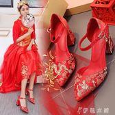 新娘婚鞋女新款紅色韓版敬酒龍鳳秀禾服鞋子繡花結婚中式