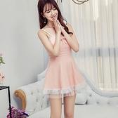 洋裝 小禮服 夏天低領吊帶連身裙露背小個子收腰修身拼網紗裙擺甜美俏皮公主裙 韓風