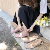豆豆鞋單鞋女2018方頭淺口平底交叉綁帶芭蕾舞鞋學生軟妹豆豆鞋女鞋 曼莎時尚
