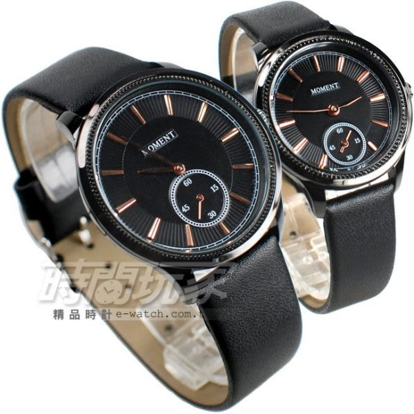 MOMENT舜時 情人對錶 日本機蕊 小秒盤時刻 真皮錶帶 對錶 黑色 MO8091黑大+MO8091黑小