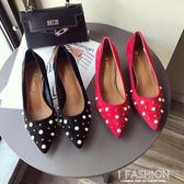 春季新款優雅珍珠裝飾絨面尖頭細跟中跟單鞋女紅色婚鞋黑色工作鞋·Ifashion