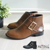 短靴 側大方扣平底短靴 MA女鞋 T8019