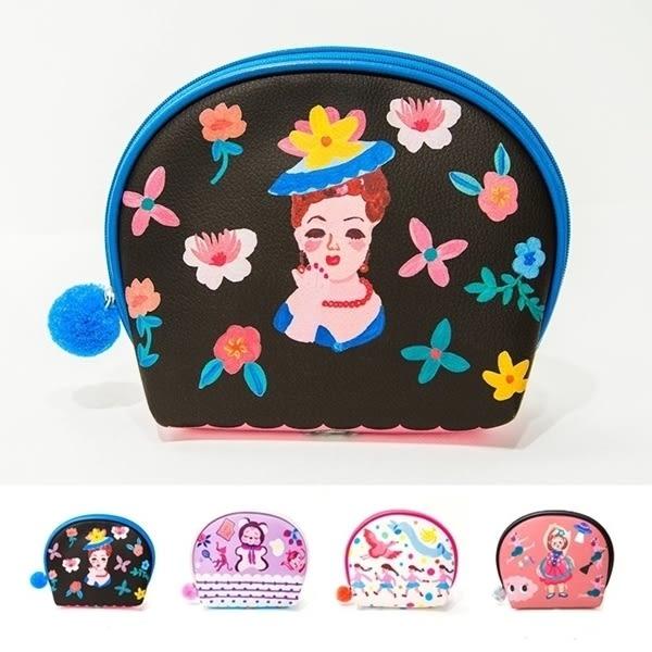 韓版卡通安娜西貝殼包小化妝包手拿包收納包零錢包皮夾長夾中夾-共4色-B290046-FuFu