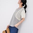 【慢。生活】蕾絲刺繡拼接休閒T恤 3015  FREE 灰色