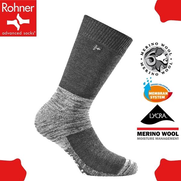 【Rohner 瑞士 fibre tech 中高筒美麗諾羊毛襪《丹寧黑》】603001/保暖/耐磨/吸濕/排汗/抗臭/彈性襪