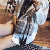水桶包 女潮韓版百搭斜背格子單肩時尚流蘇手提- 歐美韓