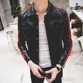 秋季新款韓版紅條紋皮衣男修身顯瘦夾克休閒青年潮流百搭外套   原本良品