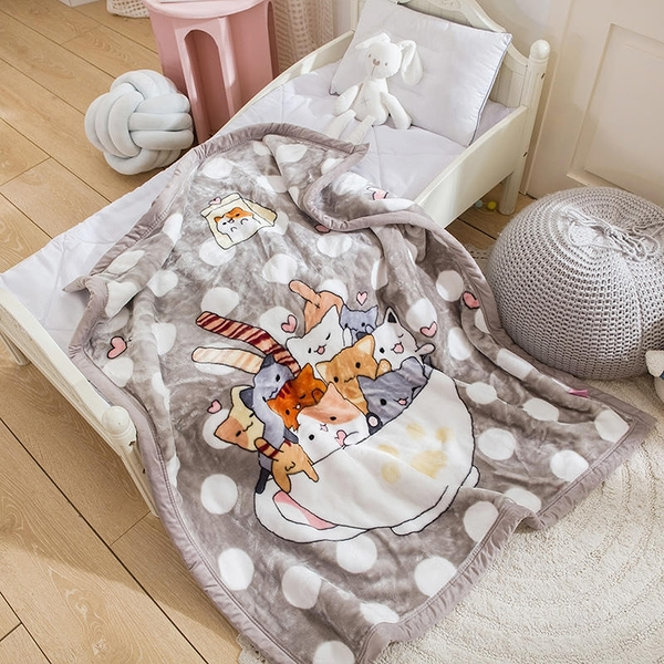 韓系可愛風 秋冬必備雙層加厚多功能法蘭絨雲毯 兒童毯《貓咪控》