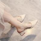 豆豆鞋女夏高跟2021年新款時尚尖頭中跟粗跟包頭涼鞋半拖鞋女外穿 pinkq時尚女裝