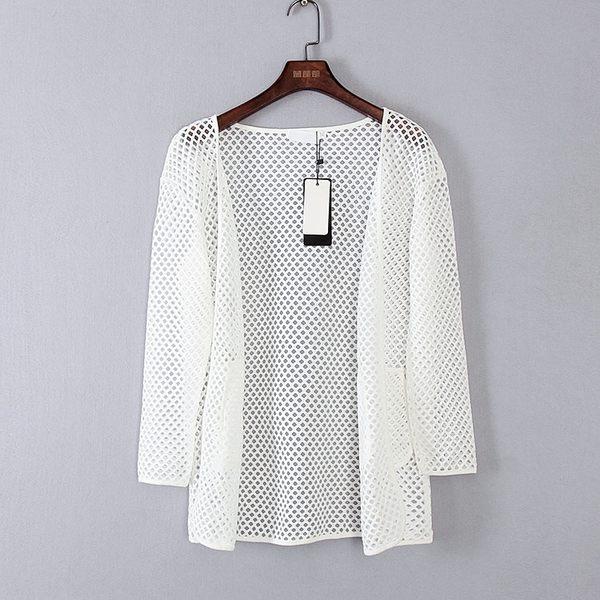 [超豐國際]麥春夏裝女裝本白色摩登時尚針織衫 44182(1入)