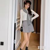 毛衣女秋冬外穿新款時尚條紋披肩短款針織衫韓版打底上衣小衫 FX3680 【東京潮流】
