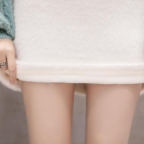 加厚毛毛半身裙女韓版高腰時尚a字裙包臀裙chic短裙 熊熊物語