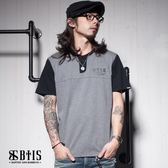 【BTIS】亨利領文字 開襟T-shirt / 麻灰色