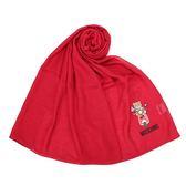 MOSCHINO 經典TOY小熊棉麻混絲薄圍巾(紅色)911003-071