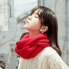 圍巾女 保暖圍巾 日系秋冬季純色毛線圍巾...