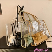 子母包透明包包女2021新款網紅大容量女包時尚側背包百搭洋氣子母托特包 JUST M
