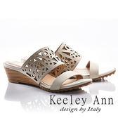 ★2018春夏★Keeley Ann民族風情~幾何鏤空寬版全真皮楔形拖鞋(米色)