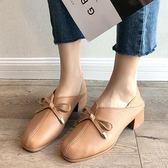 小皮鞋.優雅純色蝴蝶結V口粗跟包鞋.白鳥麗子