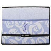 YSL經典LOGO玫瑰織紋純棉毛毯禮盒(水藍色)989208-78