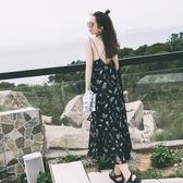 洋裝V領吊帶長裙女性感露背沙灘裙A字裙雪紡顯瘦洋裝【免運】
