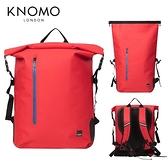 KNOMO CROMWELL 英倫防水雙肩捲頂式背包-紅色
