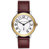 Marc Jacobs Riley 城市小秒針手錶-金框x酒紅色/36mm MJ1601