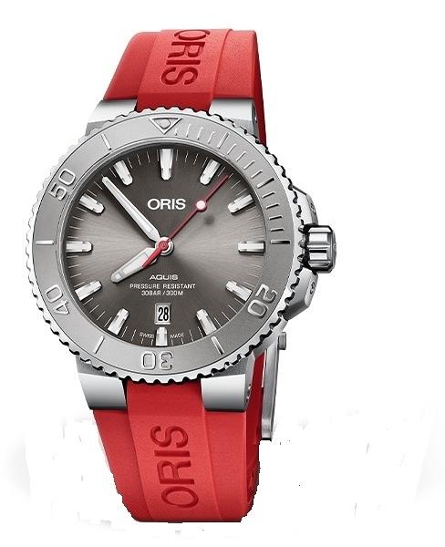 Oris Aquis RELIEF時間之海潛水300米機械錶(0173377304153-0742466EB)紅色膠/43.5mm