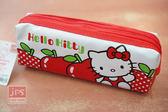 Hello Kitty 皮質雙拉鍊筆袋蘋果