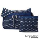 LeSportsac - Standard 雙口袋A4大書包-附化妝包 (藍底白點) 7507P F969