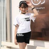 現貨 夏季新款牌女童裝2019T恤褲子兩件套裝中大童8歲以上 套裝