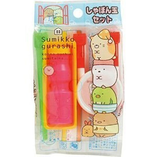 〔小禮堂〕角落生物 日製吹泡泡玩具組《綠桃.疊坐》兒童玩具.銅板小物 4902031-31479
