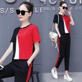 新款夏季運動服套裝女兩件套洋氣韓版寬鬆休閒顯瘦九分褲套裝