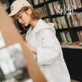 Queen Shop【02071010】直條紋抽繩連帽長版外套 兩色售*現+預*