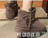 雪地靴女 雪地靴女加絨短筒可愛秋冬季新款網紅平底保暖一腳蹬棉鞋短靴 快速出货