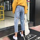 春夏女裝正韓寬鬆高腰褲腳缺口破洞牛仔褲九分褲直筒褲寬管褲長褲
